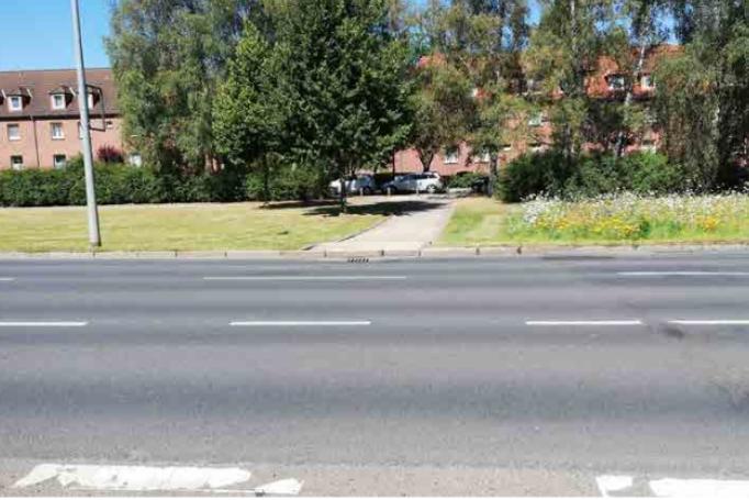 Foto: Barriere Rostocker Straße – fehlende Übergänge (Straßenfoto)