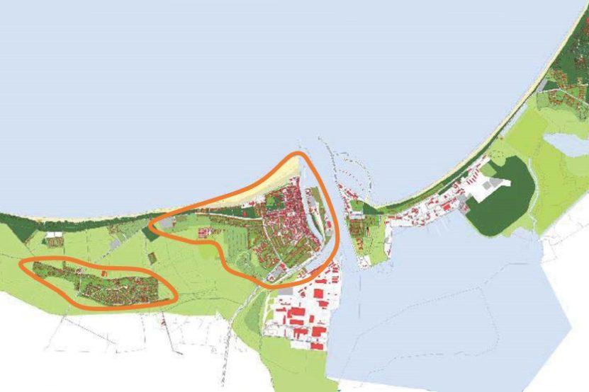 Lageplan: Ortslagen Warnemünde und Diedrichshagen