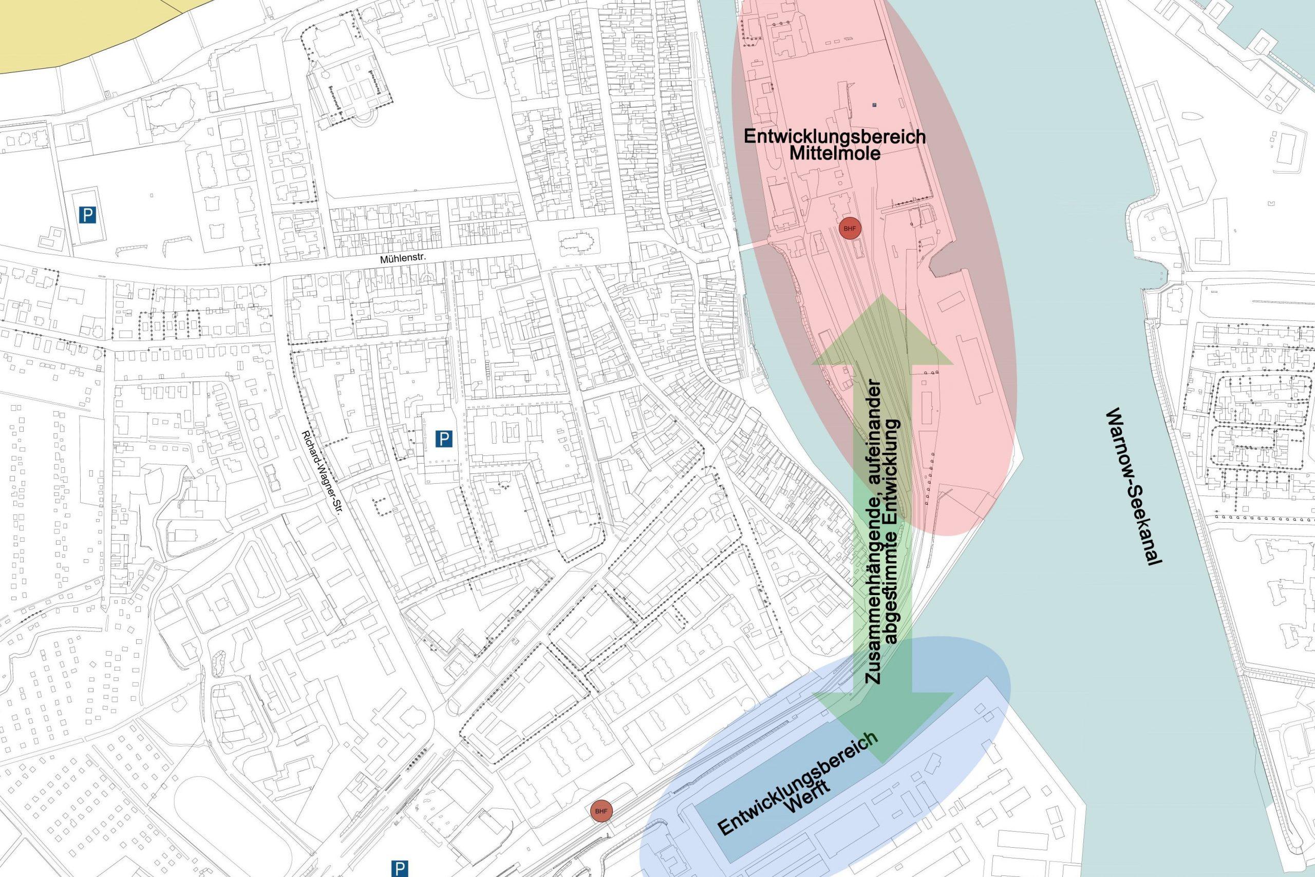 Lageplan: Mittelmole - Werftbecken