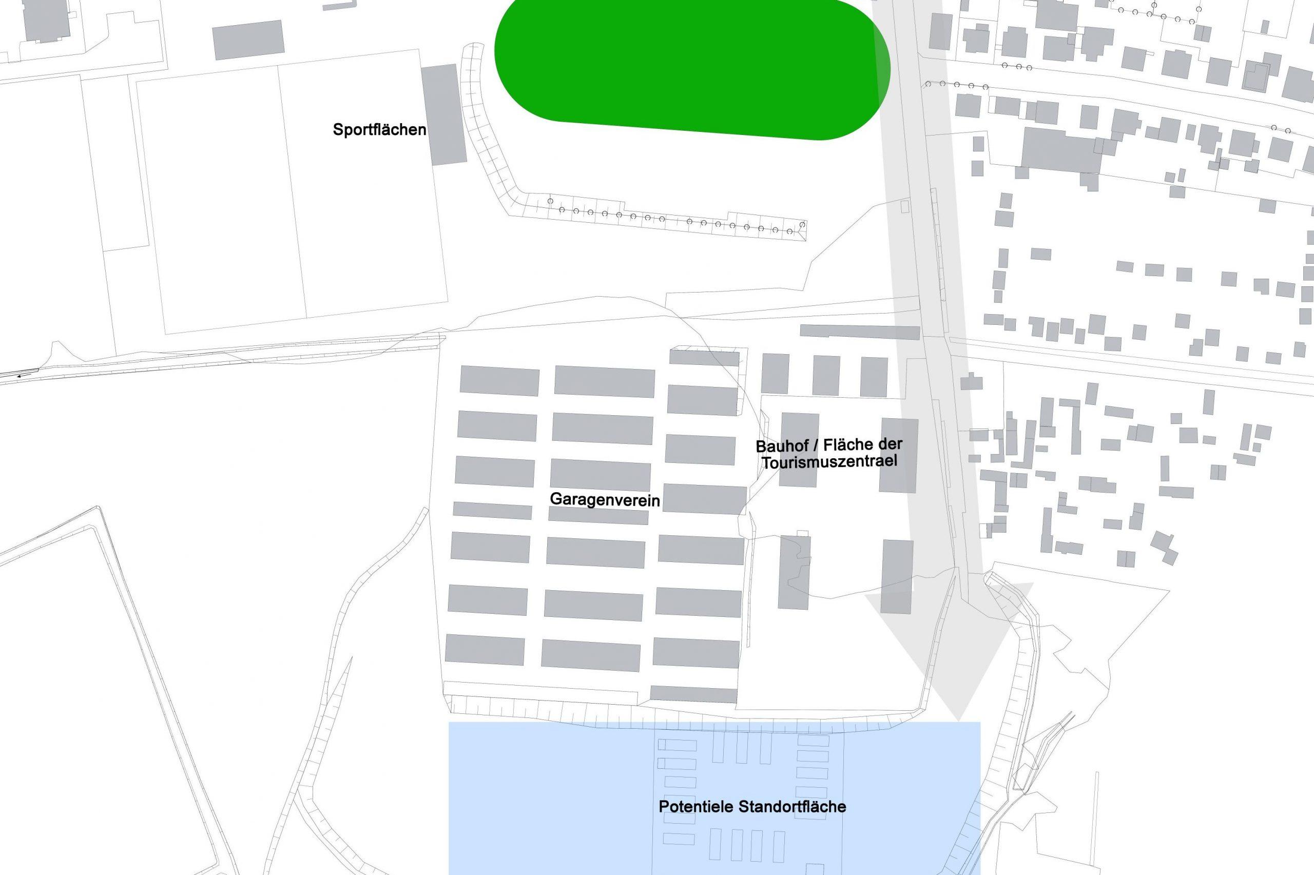 Lageplan: Potential für Stellplatzanlage im Weidenweg